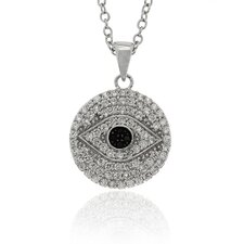 Sterling Silver Cubic Zirconia Circle Evil Eye Pendant