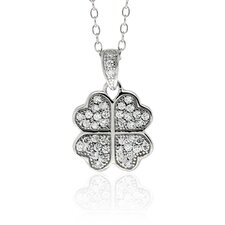 Sterling Silver Cubic Zirconia Four-leaf clover Necklace