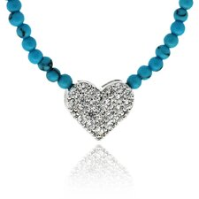 Sterling Silver Cubic Zirconia and Turquoise Heart Necklace