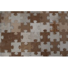 Patchwork Jigsaw Cowhide Multi Contemporary Rug