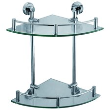 Glass Double Corner Shelf in Chrome