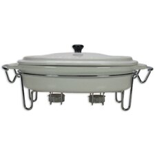 2 Piece Stainless Steel Casseroles and Foodwarmer in White