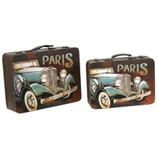2 Piece Paris Decorative Suitcase Set