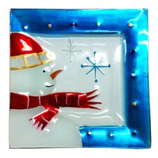 <strong>Parmy</strong> Christmas Snowman Square Glass Plate