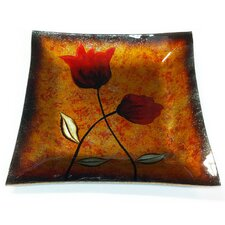 Flower Art Square Glass Plate