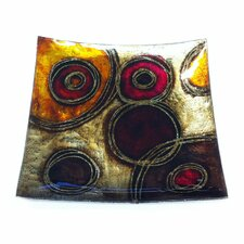 Circle Art Square Glass Plate