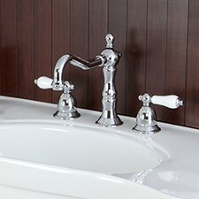 <strong>Kingston Brass</strong> Heritage Double Handle Widespread Bathroom Faucet with Brass Pop-Up Drain