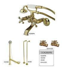<strong>Kingston Brass</strong> Vintage/Aqua Eden Wall Mount Clawfoot Tub Faucet Package