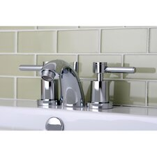 Concord Double Handle Mini Widespread Bathroom Faucet with Brass Pop-Up Drain