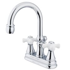 <strong>Kingston Brass</strong> Governor Double Handle Centerset Bathroom Faucet with Brass Pop-Up Drain