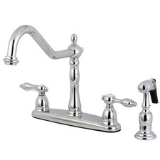 <strong>Kingston Brass</strong> Tudor Double Handle Centerset Kitchen Faucet with Brass Spray