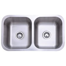 "Loft 18"" x 18"" Gourmetier Undermount Double Bowl Kitchen Sink"