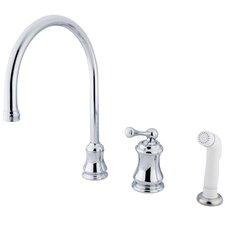 Restoration Single Handle Widespread Kitchen Faucet with Non-Metallic Spray