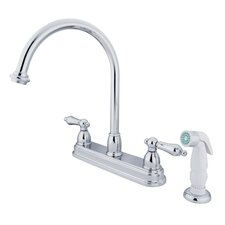<strong>Kingston Brass</strong> Restoration Double Handle Kitchen Faucet with Non-Metallic Sprayer