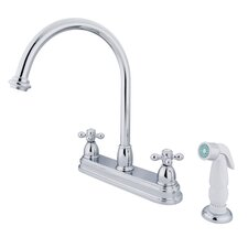 Restoration Double Handle Kitchen Faucet with Non-Metallic Spray