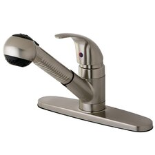 <strong>Kingston Brass</strong> Legacy Single Handle Pull-Out Kitchen Faucet with White Spray