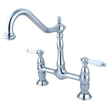 Heritage Double Handle Widespread Bridge Kitchen Faucet