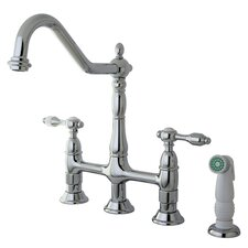 Tudor Double Handle Widespread Kitchen Faucet with Spray