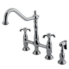 French Country Double Handle Widespread  Kitchen Faucet with Sprayer
