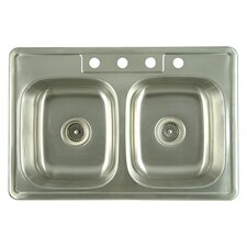 "<strong>Kingston Brass</strong> Carefree 21.25"" x 22"" Double Bowl Self-Rimming Kitchen Sink"