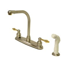 Victorian Double Handle CentersetHigh Arch Kitchen Faucet with Non-Metallic Spray