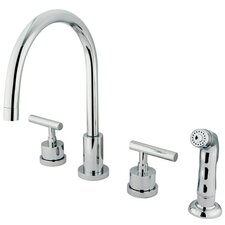 <strong>Kingston Brass</strong> Manhattan Double Handle Widespread Kitchen Faucet with Non-Metallic Spray
