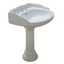 <strong>Kingston Brass</strong> Georgian Wall Mount Pedestal Bathroom Sink
