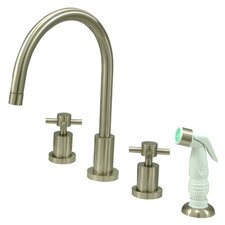 Concord Double Handle Widespread Kitchen Faucet with Non-Metallic Spray