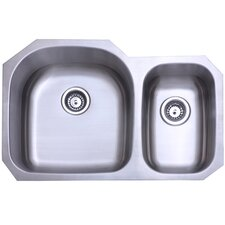 "Seattle 20.69"" x 31.5"" Gourmetier Stainless Steel Double Bowl Undermount Kitchen Sink"
