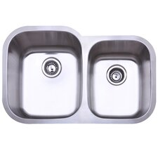 "Bayshore 21"" x 17.75"" Gourmetier Double Bowl Undermount Kitchen Sink"