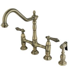 Heritage Double Handle Widespread Kitchen Faucet with Side Spray
