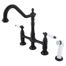 Heritage Double Handle Widespread Kitchen Faucet with Optional Side Spray