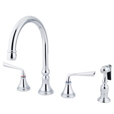 Silver Sage Double Handle Deck Mount Widespread Kitchen Faucet with Brass Sprayer