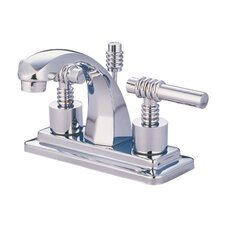 <strong>Kingston Brass</strong> Milano Double Handle Centerset Bathroom Sink Faucet with Brass Pop-up