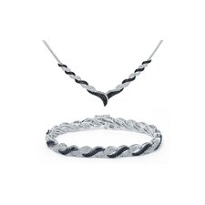 Brass Diamond Necklace and Bracelet Set