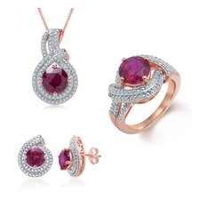 Brass Faux Ruby Necklace, Ring and Earring Set