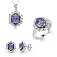 Brass Amethyst Necklace, Ring and Earring Set