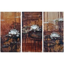 Waterliles by Mia Archer 3 Piece Original Painting on Canvas Set (Set of 3)