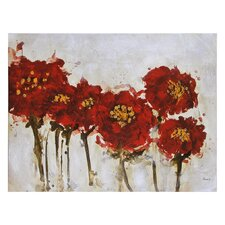 Crimson Blossoms Canvas Wall Art