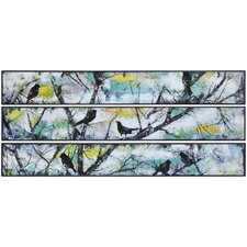 Oiseau by Giovanni Russo Painting Print on Canvas (Set of 3)
