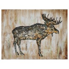 Moose II by Dominic Lecavalier Painting Print on Canvas