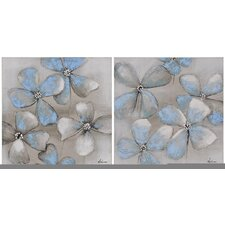 Bleu Canvas by Olivia Salazar Painting Print on Canvas (Set of 2)
