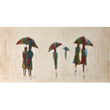 Walk in the Rain by Braski Painting Print on Canvas