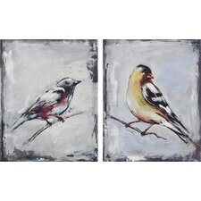 The Galapagos Finch by Ksenia Sizaya 2 Piece Original Painting on Canvas Set