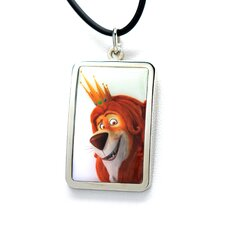 Lion White Bronze Dog Tag Pendant Necklace