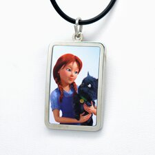 Dorothy White Bronze Dorothy Holding Toto Dog Tag Pendant Necklace