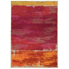 Expressions Red Abstract Area Rug