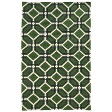 Matrix Green Geometric Rug