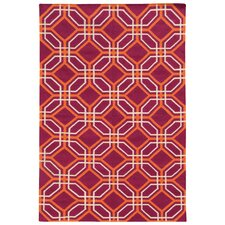 Matrix Red Geometric Rug
