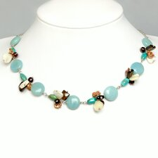 Silver Chain Gemstone Necklace with Cultured Pearls